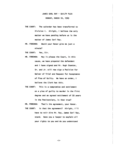 Page 1 of James Earl Ray Guilty Plea - March 10, 1969