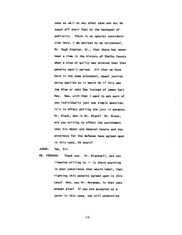 Page 14 of the James Earl Ray Guilty Plea