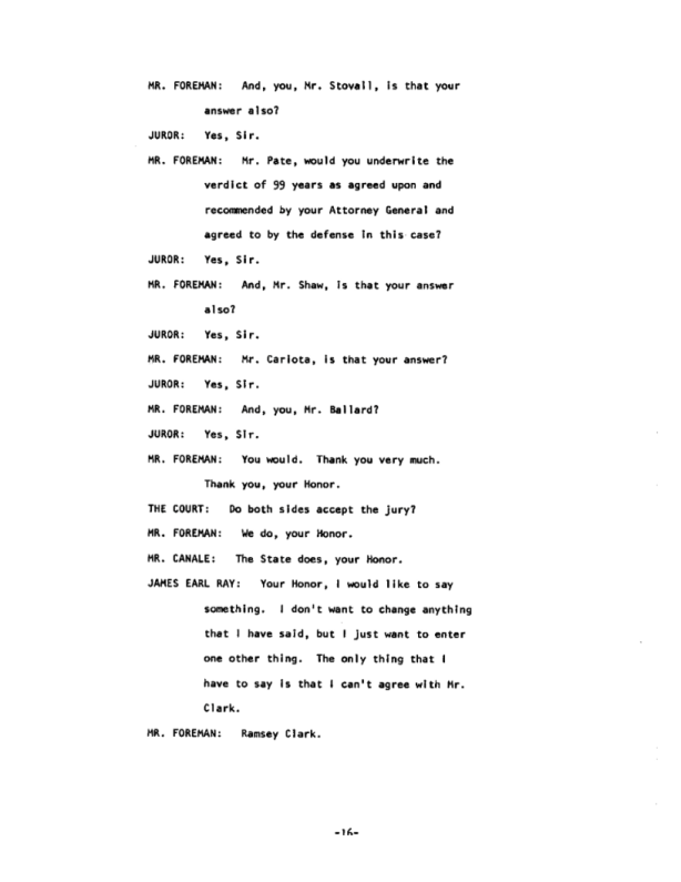 Page 16 of the James Earl Ray Guilty Plea