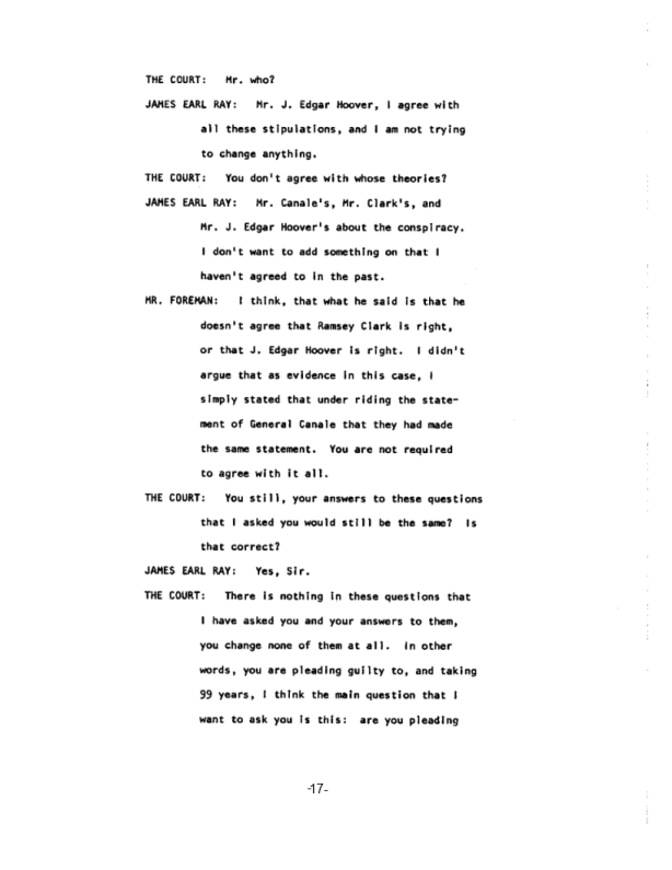 Page 17 of the James Earl Ray Guilty Plea