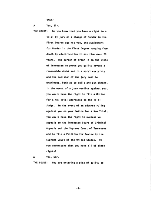 Page 2 of the James Earl Ray Guilty Plea