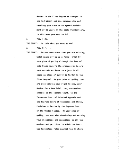 Page 3 of the James Earl Ray Guilty Plea