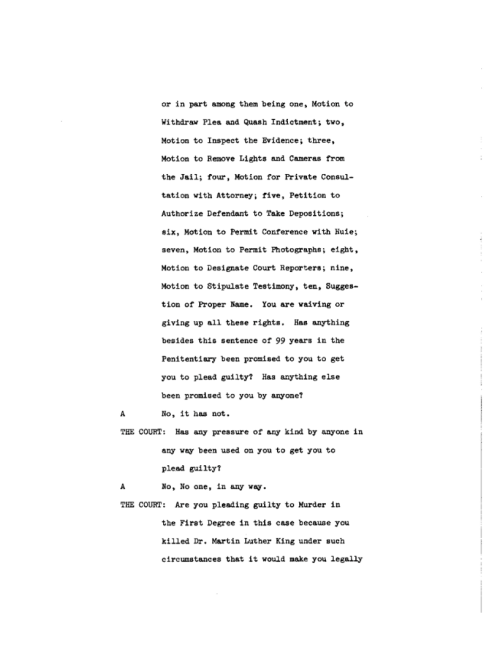 Page 4 of the James Earl Ray Guilty Plea