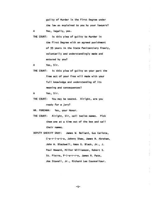 Page 5 of the James Earl Ray Guilty Plea