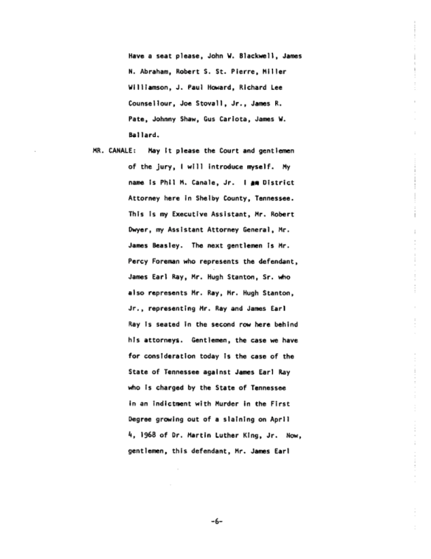 Page 6 of the James Earl Ray Guilty Plea