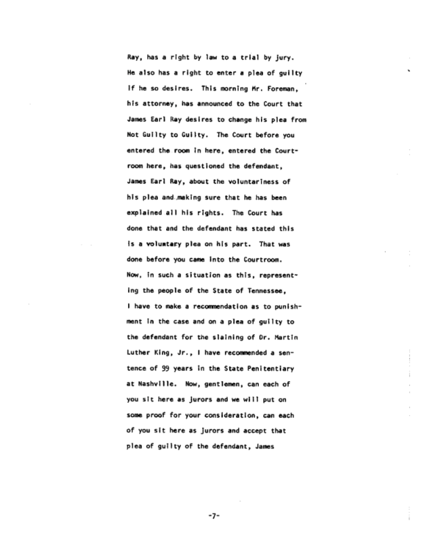 Page 7 of the James Earl Ray Guilty Plea