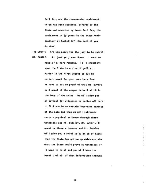 Page 8 of the James Earl Ray guilty plea