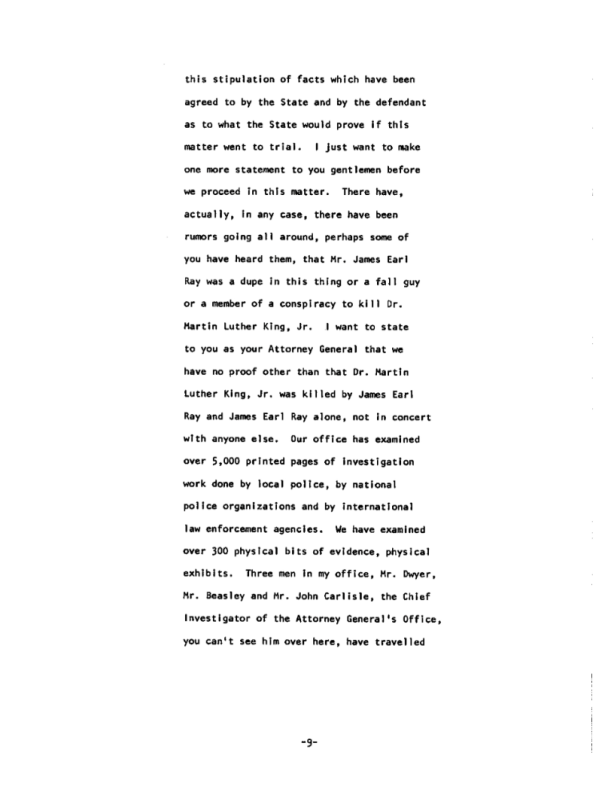 Page 9 of the James Earl Ray Guilty Plea